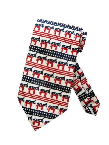 Parquet Mens Democratic Donkey Party Necktie - White - One Size Neck Tie