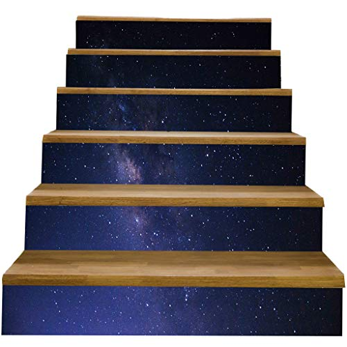 Baoblaze 6 Piezas 3D Escalera Escalera Suelo Pegatinas Calcomanías de Pared 18x100cm Extraíble - a, Individual