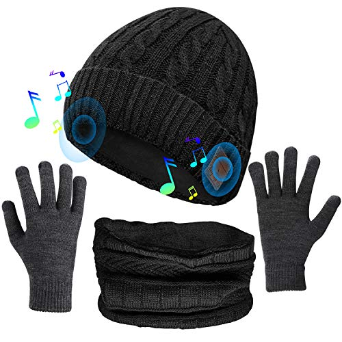 (3 in 1) Unisex Music Beanie Set, Bluetooth 5.0 Cuffed Winter Hat w/Mic Stereo Speaker + Touchscreen Gloves + Neck...