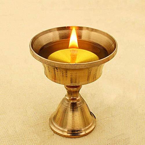 Msoteey Base de la lámpara de la lámpara Ghee Mantequilla Mantequilla de Buda Base de la lámpara de cobre puro de Inicio Oferta mantequilla Base de la lámpara de la vela luz larga vela titular de cobr