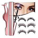 Magnetische Wimpern Set, Luckyfine 3D Magnetischer Eyelashes Kit, Wiederverwendbare Falsche Magnetic Wimpern Eyeliner und Pinzette, Wasserdichtem Künstliche Wimpern Set 6 Stücke (3 Paare)