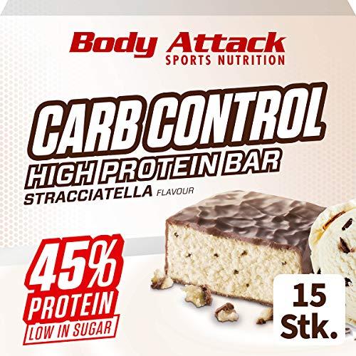 Body Attack Carb Control, Proteinriegel ohne Zuckerzusatz, Low Carb – High Protein, Eiweißriegel mit Whey, auch in der Mix-Box (Stracciatella, 15 x 100g)