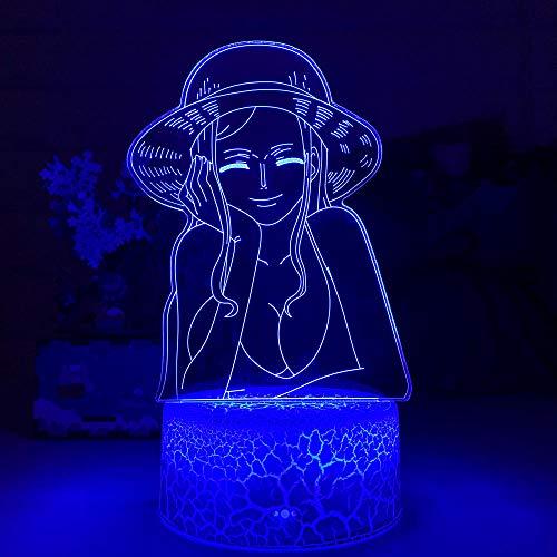 Nico Robin ZGLQ - Luz nocturna LED para niños, decoración de anime japonés, regalo de una pieza, lámpara 3D de Nico Robin Nightlights