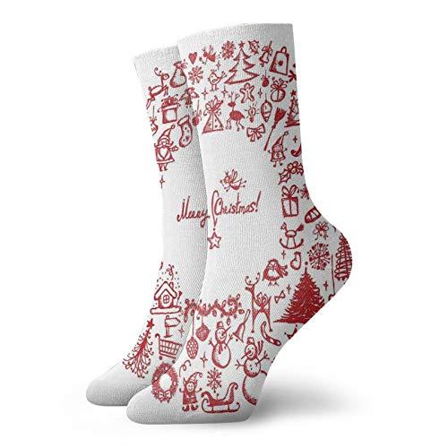 Calcetines suaves de longitud media de pantorrilla, corona de Navidad vintage con varios iconos de Noel Yule y cintas, velas, campanas de imagen, calcetines para mujeres y hombres, ideales para correr