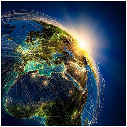 Wallario Acrylglasbild Erde im Weltall im Sonnenschein - 50 x 50 cm in Premium-Qualität: Brillante Farben, freischwebende Optik