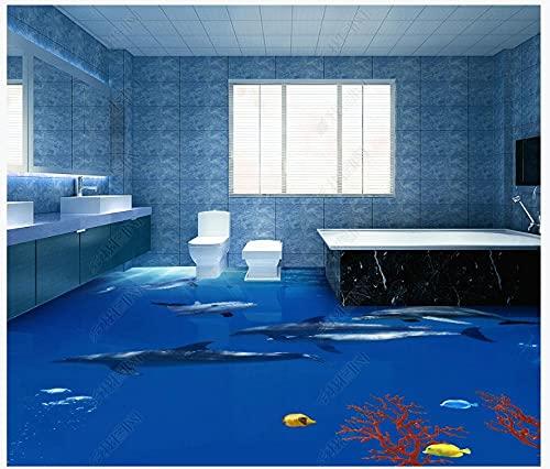 Custom 3D Mural Floor Wallpaper Ocean Dolphin Coral Fish World Unterwasserlandschaft PVC Wear wasserdicht für Badezimmer 3D Boden Wandaufkleber Küche 400x280cm
