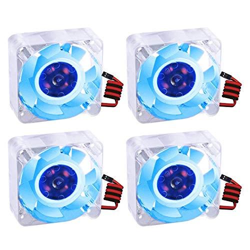 GeeekPi DC 12 V Ventilador de refrigeración para impresora 3D, silencioso DC sin escobillas 40 x 40 x 10 mm, conector de 2 pines enfriador para impresora 3D ( Azul, 4Pack)