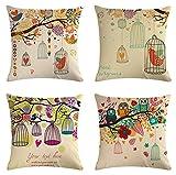 JOVEGSRVA Juego de 4 fundas de almohada decorativas de jaula de pájaros de dibujos animados, 45 cm x 45 cm, fundas de almohada para sala de estar, sofá cama