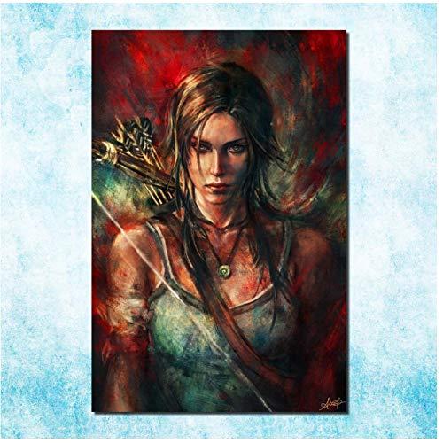 Póster de lona de seda de Tomb Raider Lara Croft Art de Tomb Raider - Cuadro de pared para decoración del hogar - 20 x 28 pulgadas sin marco