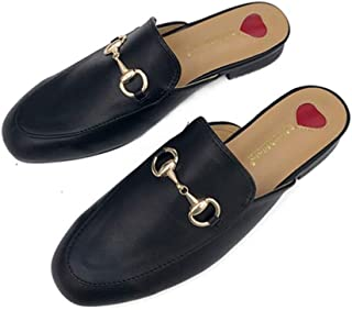 Womens Leather Mule Flats Shoes Oxford Backless Slipper Slip-ons Loafer Shoes