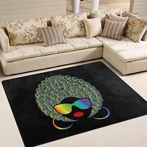 Tappeto grande da pavimento 182,9 x 121,9 cm, con labbra rosse e capelli afro neri