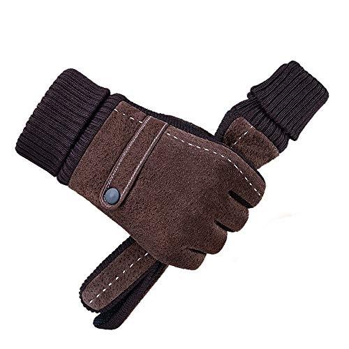 XMWS Herren Winter braun Handschuhe Lederhandschuhe Touch Screen-Taste Reithandschuhe Outdoor-Reiten Warm windundurchlässiges Handschuhe Nano Rutsch-Handschuhe mit Samt-Handschuhe (Color : Braun)