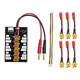 Supporta 6 batterie XT30 1S, 2S o 3S Li-Po carica di equilibrio delle batterie Connettori XT30 di alta qualità, bonus sei cavi di connessione da XT30 a JST Addensare la lamina di rame PCB, consentire la sicurezza utilizzando la corrente di carica 20A...