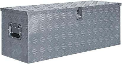 vidaXL Doos 110,5x38,5x40 cm Aluminium Zilverkleurig Opbergkist Trailerbox Box
