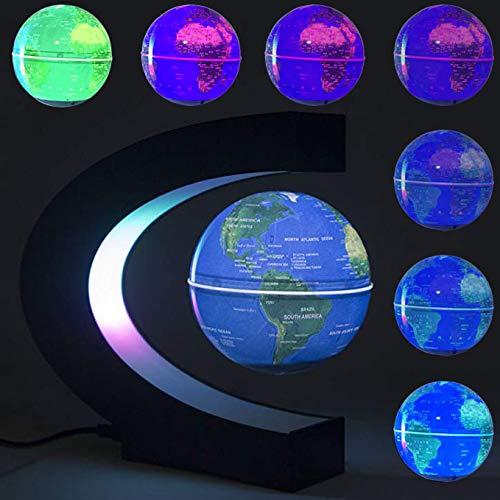 DAMPOG Floating Globe, Multi-Color Ändernde C-Form Magnetschwebebahn Floating Globe-Weltkarte mit LED-Leuchten für Kinder Geschenk Home Office Schreibtisch Dekoration