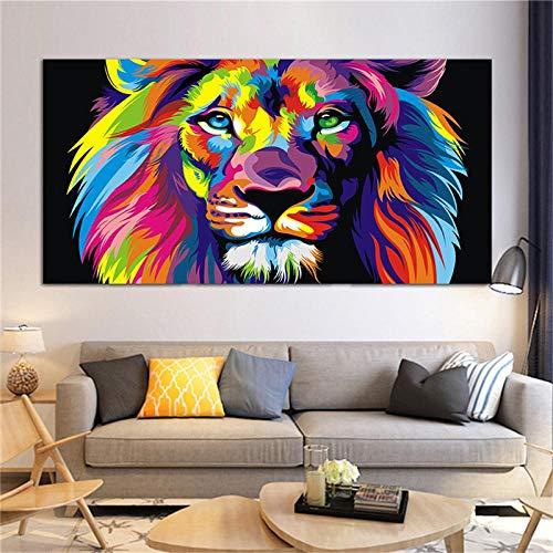 Póster con estampado de arte pop, pintura en lienzo de león colorido, cuadros de pared, arte, sala de estar, decoración del hogar, impresiones en lienzo, ilustraciones de 32 'x63' (80x160cm) sin marco