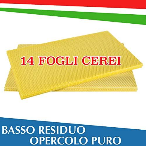 Fogli Cerei Apicoltura da Nido (14 Fogli), Cera Italiana da Opercolo, Basso Redisuo, Made in Italy 100%, Materiale Apistico