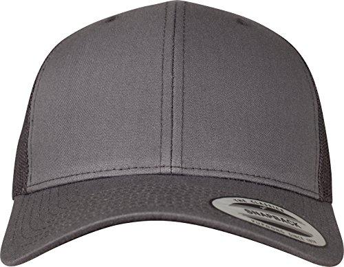 Flexfit Snapback Unisex Baseball-Mütze | Trucker Kappe Mesh Basecap, Grau (dunkel grau), Gr. One size