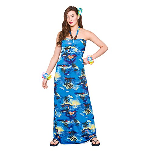 Ladies Maxi Blue Palm Dress Hawaiian Luau Fancy Dress Up Party Costume Outfit