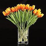 Sodial(R) - Juego de 10 tulipanes artificiales, de látex, para decoración o ramos de novia, de la mejor calidad (color naranja)