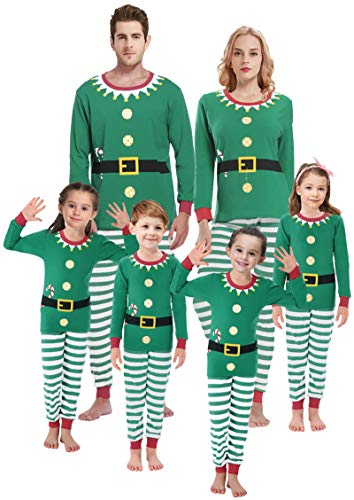 Family Matching Pajamas for Girls Women Men Elf Pjs Children Striped Sleepwear Baby Boys Clothes Kids Size 16