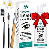 Eyelash Extension Cleanser 60ml Eyelash Brush, Eyelid Foaming Cleanser, Clean for Extensions Natural Lashes, No Paraben/Sulfate, Lash Shampoo, Safe Makeup&Mascara Remover, Salon&Home Use -2 fl.oz
