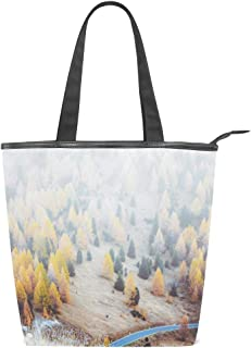 N/Q Foggy Forest gelbe Segeltuch-Tragetasche für Frauen, hohe Kapazität, Handtasche, Schultertasche für Reisen, Schule, Arbeit, Einkaufen 28 x 10 x 34 cm