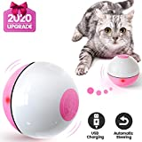 IOKHEIRA Cat Toys Ball, 2020 Newest Version Wicked Ball, Smart Interactive Cat Ball, 360° Self-Rotating & USB Rechargeable Pet Toy with Built-in LED Light, The Best Fun Gift for Kitten (White & Pink)