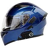 TKer Casco de Motocicleta Integrado Bluetooth, Cascos modula