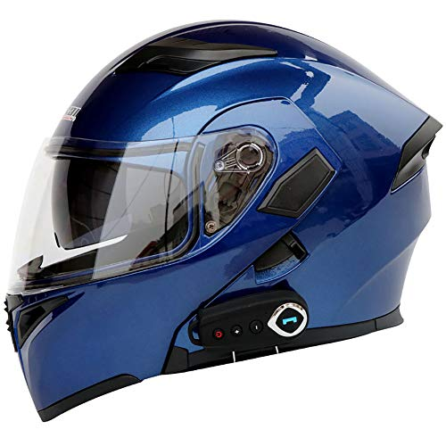 TKer Casco de Motocicleta Integrado Bluetooth, Cascos modulares de Moto de Visera Doble con Visera Completa para Hombres y Mujeres Adultos, Certificación ECE,Azul,M