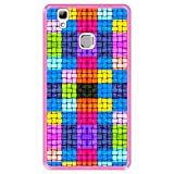 Hapdey silikon Hülle für [ Doogee X5 Max - X5 Max Pro ] Design [ Farbige Quadrate mit Wassertropfen ] Rosa Flexibles TPU