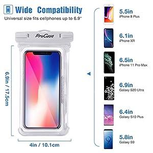 "ProCase Bolsa Estanca Universal para iPhone SE 2020/iPhone 11 Pro Max/XS/XR/6S Plus, Galaxy S20 Ultra/S10+/J7, Huawei P8 Lite, Xiaomi A1/Redmi Note 5, hasta 6,9"" -2 Unidades, Blanco/Negro"