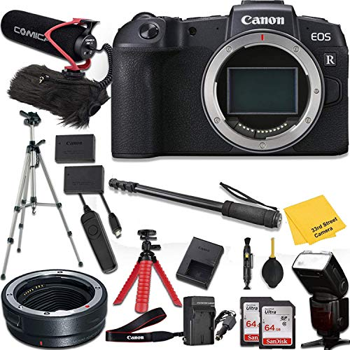 Canon EOS RP Mirrorless Digital Camera (Body Only) + Mount Adapter EF-EOS R + Pro Accessory kit (Microphone w/Windshield, Tripods, Flashlight, Memory Cards and More)