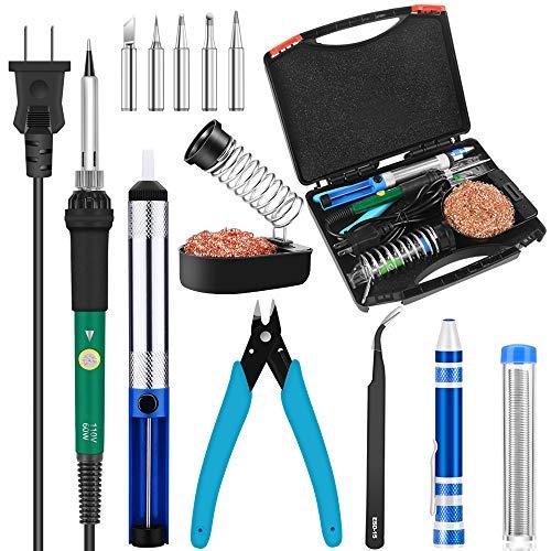 Soldering Iron Kit,Solder Iron,HANDSKIT Electronics Welding Tools 60W Adjustable Temperature Soliding Iron Soldering Stand,Desoldering Pump,Soldering Tips,Tweezers,Solder Sucker