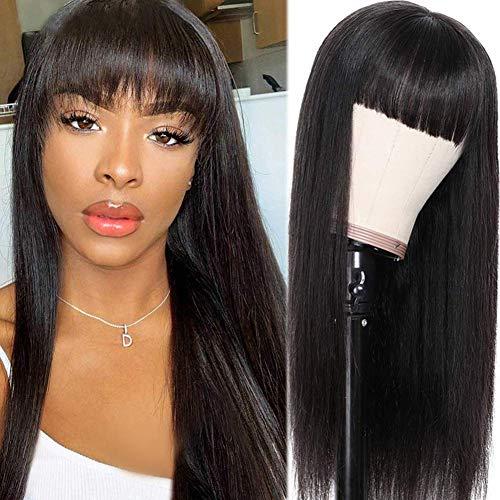 Ur Beautiful Pelucas De Pelo Humano Peluca Mujer Pelo Natural Humano Pelucas Largas Lisas Straight Human Hair Wigs With Bangs Remy Hair 150% Density 16 Inch Natural Black Color Pelucas