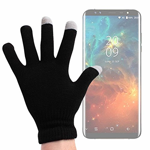 DURAGADGET Guantes Negros para Pantalla Táctil para Smartphone Blackview BV6000, Blackview BV8000 Pro, Blackview BV7000 Pro, Blackview S8 - Talla Mediana - ¡Ideales para El Invierno!
