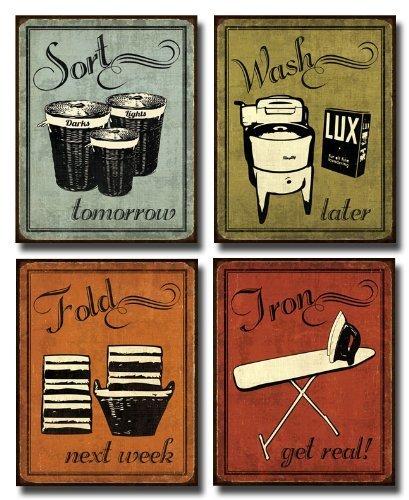 Gango Home Décor Laundry Set - mini Mini Prints, Vintage, Signs Art Print Poster by N Harbick, 8 x 10