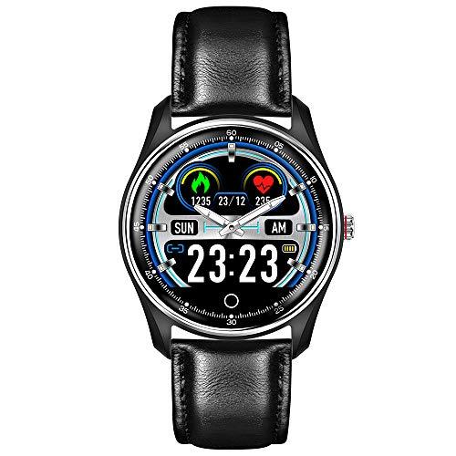 Smart-armband met touchscreen, hartslagmeter en bloeddrukmeter ECG + PPG, HRV IP68, waterdicht, smartwatch (zwart leer)
