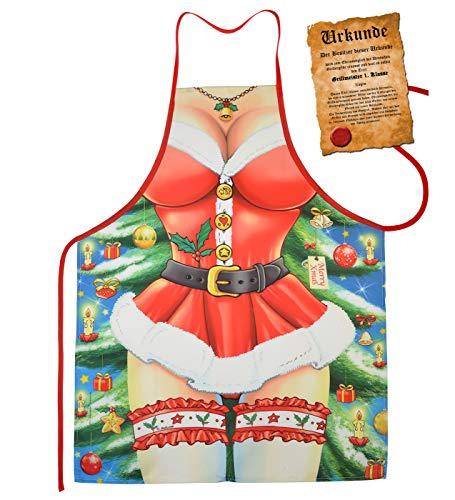 Mega Sexy Schort BBQ Schort kookschort met certificaat - Sexy kerstvrouw - coole grappige Christmas