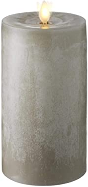 "Raz Imports 3.5""X7"" Moving Flame Grey Chalky Pillar Candle - Flameless Lighting Accent and Battery Operated Flickering Light Source with Timer - Fake Candles for Living Room, Patio and Bedroom"