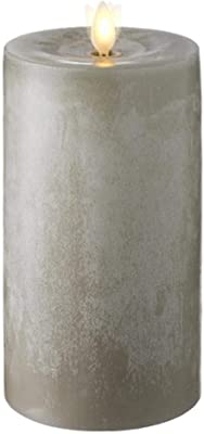 """Raz Imports 3.5""""X7"""" Moving Flame Grey Chalky Pillar Candle - Flameless Lighting Accent and Battery Operated Flickering Light Source with Timer - Fake Candles for Living Room, Patio and Bedroom"""