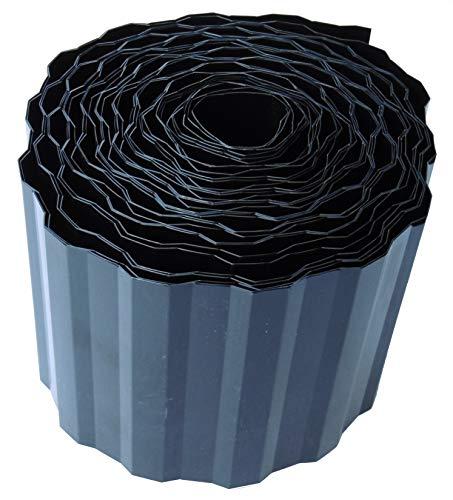EXCOLO Rasenkante 9m lang 10cm hoch Farbe Schwarz/Anthrazit Rasenumrandung Beetbegrenzung Raseneinfassung Mähkante trapez wellung
