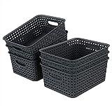 Bringer Cestini portaoggetti in plastica da 6 pezzi, grigi
