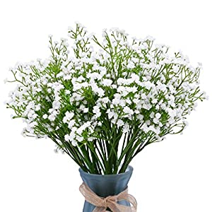 LUYAR 12 PCS Baby Breath, White Gypsophila Artificial Flower – Real Touch Fake Flower PU Plants for Wedding Bouquets & DIY Home Decor