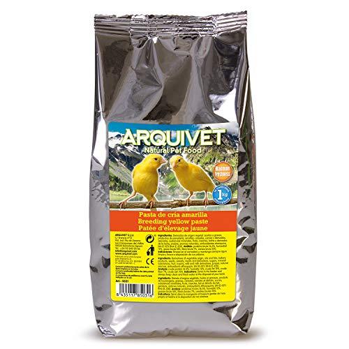 Arquivet Pasta de cría Amarilla y Mantenimiento para pájaros - Sabor Neutro - Alimentación para Aves - Comida para Todo Tipo de pájaros y Especialmente de Plumaje Amarillo - 1 kg