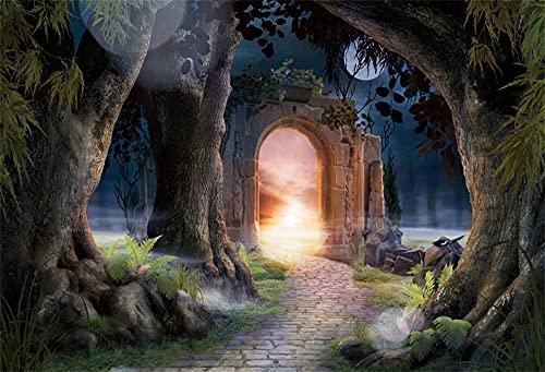 Dashan Pano de fundo da floresta mágica de 1,5 x 0,9 m com videiras envelhecidas, castelo de porta arqueada com raios de fundo de luz para dia das bruxas, fotografia de amanhecer sombrio, paisagem natural, viagem ao ar livre, cabine fotográfica, cabine de fotos de poliéster