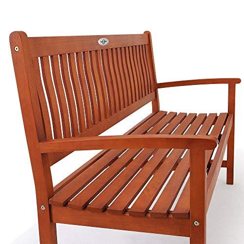 Deuba Gartenbank Maxima 3-Sitzer FSC®-zertifiziertes Eukalyptusholz In- & Outdoor Holzbank Sitzbank Parkbank Bank - 3