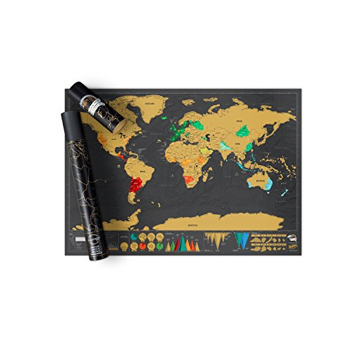 Scratch off Map World Poster Deluxe Edition – Personalized Scratchable Map of the World - Designed...