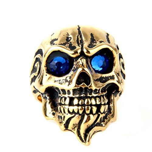 Blisfille Ringe Herren Goldring Schwarz Gold Bar Punk Flamme Schädel Toten Kopf Ringgröße 62 (19.7) Blau Zirkonia Gothic Retro Vintage Geburtstag Ringe Für Junge