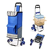 Folding Shopping Cart Extended Handle Stair Climbing Cart with Quiet Rubber Tri-Wheels Grocery Foldable Utility Cart with Upgraded Bottom Platformto Prevent Sagging